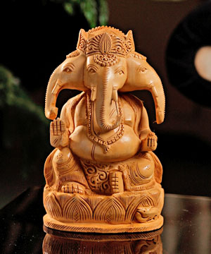 Wooden Idols-Well Carved Wooden Ganesha