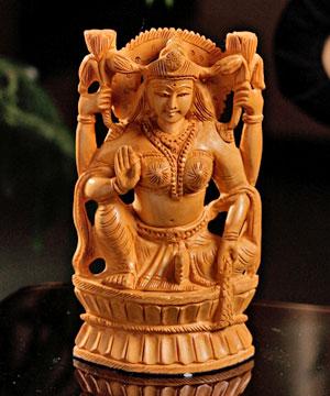 Carved Wooden Lakshmi