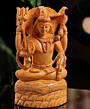 Wooden Idols-Carved Wooden Shiva