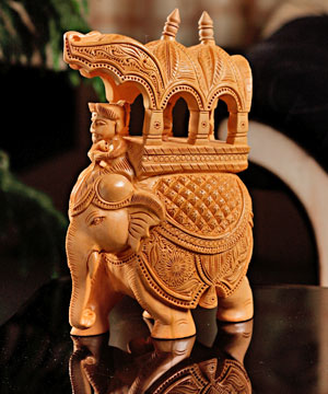 Skillfully Carved Elephant Statue