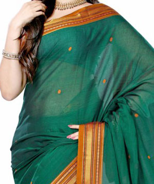 Handloom Cotton Saree-Instyle Handloom Cotton Bottle Green Saree
