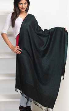 Textured Silk Black Stole