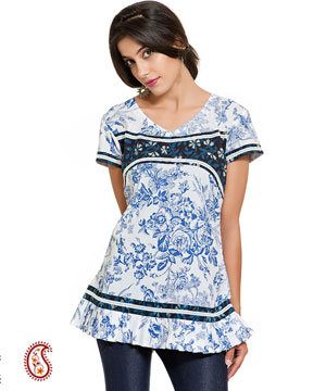 White and Blue Floral Print Frill Kurti