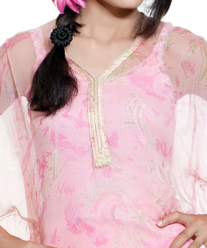 Chiffon Kurti in Carination Pink
