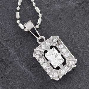 Emerald Cut CZ and Steel Pendant