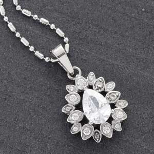 Pear Shaped White CZ Pendant
