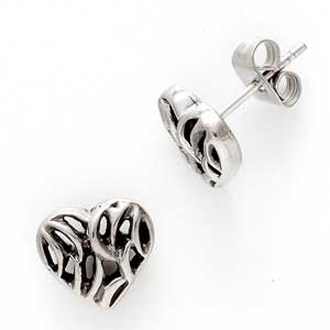 Oxidised Stud Heart Earrings