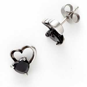 Black Agate Heart Earrings