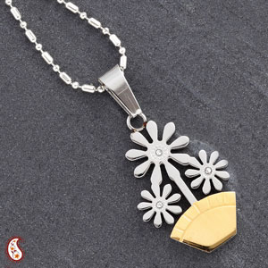 Flower Pot CZ Studded Pendant