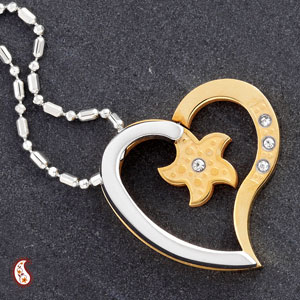 Alloy Steel Heart Pendant with CZ