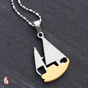 Alloy Steel CZ Boat Pendant