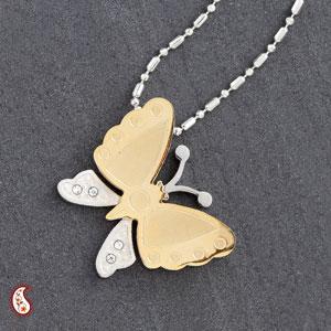 CZ Studded Butterfly Pendant