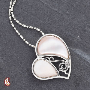 Pink Shell Silver Heart Pendant