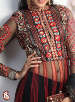 Black and Red Net Unstitchhed Anarkali Churidaar Set