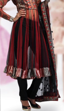 Dress Material-Black and Red Net Unstitchhed Anarkali Churidaar Set