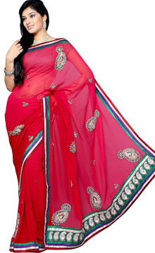 Cardinal Red Embroidery Saree