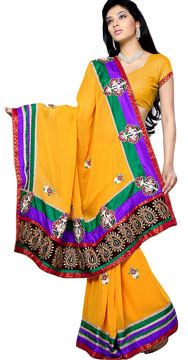 Mango Yellow Patchwork Saree