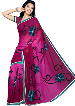 Burgundy Red Embroidery Saree