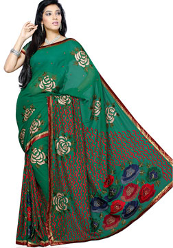 Green Handwork Georgette Saree