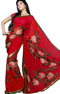Scarlet Red Handwork Georgette Saree