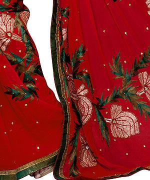 Georgette Sarees-Scarlet Red Handwork Georgette Saree