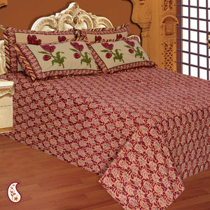 Maroon Daboo Print Single Bedsheet Set