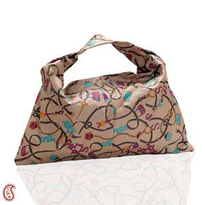 Buff Brown Printed Satchel Bag