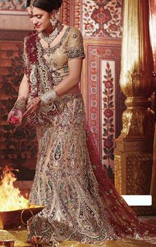 Buff Brown Wedding Fish Cut Lehenga India