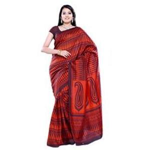 Black and Orange Pashmina Silk Saree