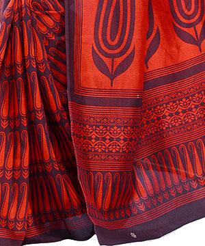 Pashmina Silk Saree-Black and Orange Pashmina Silk Saree