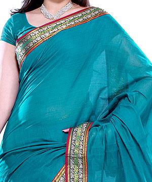 Handloom Cotton Saree-Teal Blue Handloom Cotton Saree