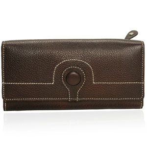 Dark Brown Leather Double Fold Wallet