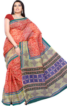 Orange Block Printed Kota Saree