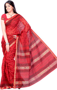 Vermilion Red Block Print Cotton Silk Saree