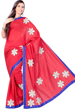 Amaranth Red Patch Work Kota Saree