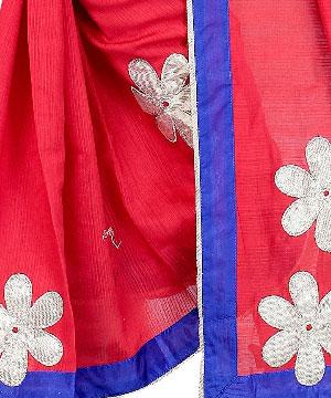 Cotton Sarees-Amaranth Red Patch Work Kota Saree