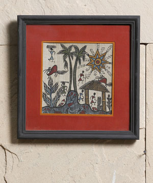 Ethnic Wall Frame with Warli Paint
