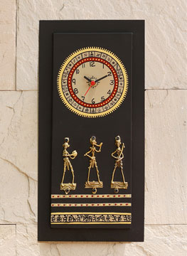 Wooden Wall Clock with Brass Work