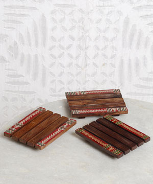 Wooden Coasters with Warli Paint - Set of 3