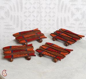 Fish Shape Wooden Coasters - Set of 4
