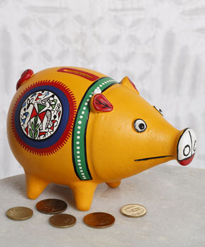 Artifacts-Hand Painted Piggy Bank Made of Terracotta