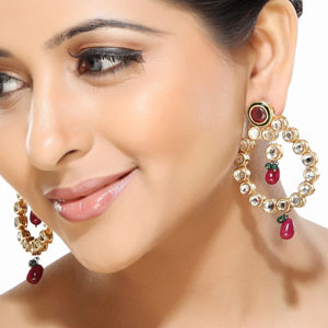 Emerald, Ruby and Kundan Hoop Earrings