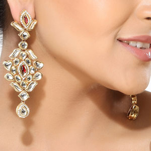White Kundan and CZ Dangler Earrings