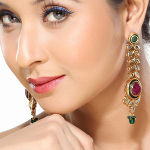 Kundan and Meenakari Dangler Earrings
