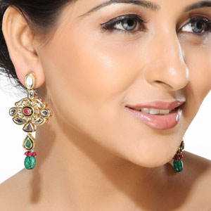 Kundan and Meena Work Dangler Earrings
