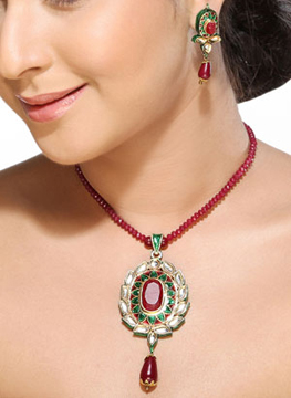 Meenakari Kundan Pendant Set with Ruby String