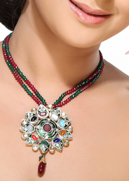 Kundans and Navaratnas Floral Pendant Set