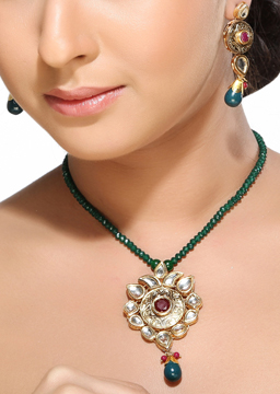 Kundans Ruby and Emerald Pendant Set