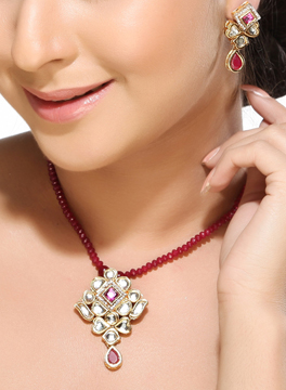 Kundan CZ Pendant Set with Ruby String
