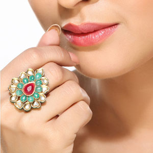 Emeralds & Ruby Kundan Ring